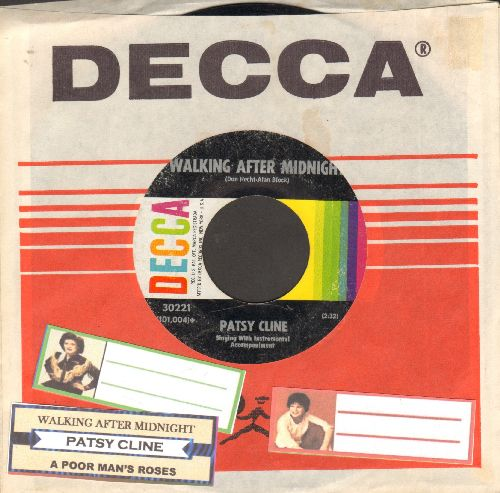 Cline, Patsy - Walkin' After Midnight/A Poor Man's Roses (with juke box label and Decca company sleeve) - VG7/ - 45 rpm Records