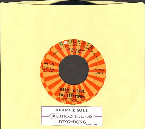 Cleftones - Heart & Soul/Ding-Dong (by The Echoes on flip-side) (double-hit re-issue with juke box label) - NM9/ - 45 rpm Records