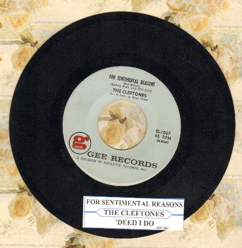 Cleftones - For Sentimental Reasons/'Deed I Do (with juke box label) - NM9/ - 45 rpm Records