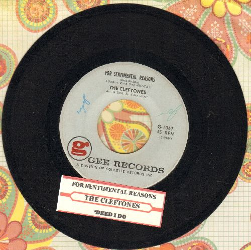 Cleftones - For Sentimental Reasons/'Deed I Do (with juke box label) - VG7/ - 45 rpm Records
