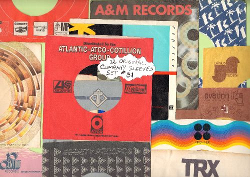 Company Sleeves - 12 Vintage Company Sleeves - Set #012-31 (exactly as pictured!) - Dress up your 7 inch vinyl records in original company sleeves of the 1960s & 70s. Good to excellent condition. - /EX8/EX8 - Supplies