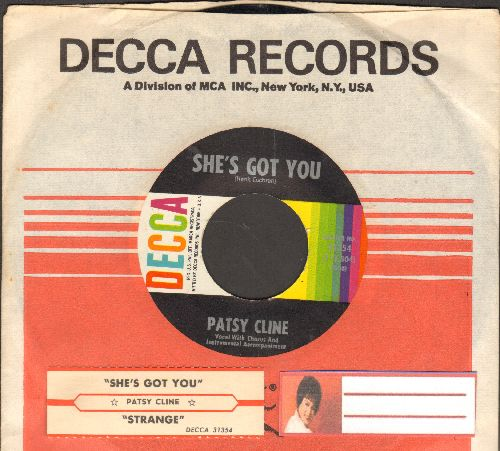 Cline, Patsy - Strange/She's Got You (with juke box label and Decca company sleeve) - NM9/ - 45 rpm Records