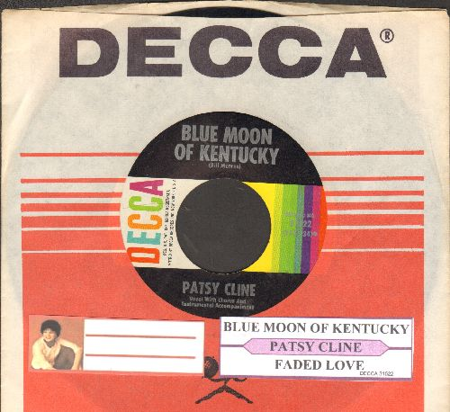 Cline, Patsy - Blue Moon Of Kentucky/Faded Love (with juke box label and Decca company sleeve) - EX8/ - 45 rpm Records