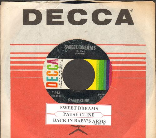 Cline, Patsy - Sweet Dreams/Back In Baby's Arms (with juke box label and vintage Decca company sleeve) (wol) - VG7/ - 45 rpm Records