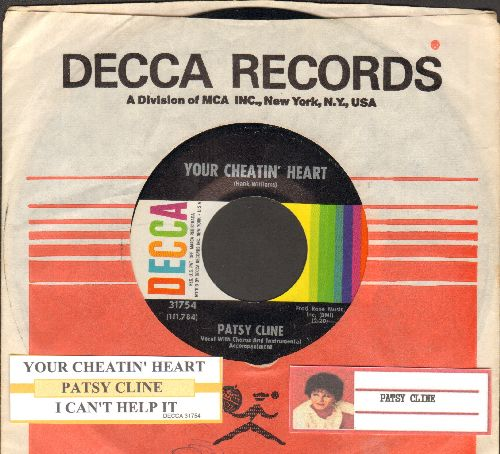 Cline, Patsy - Your Cheatin' Heart/I Can't Help It (If I'm Still In Love With You) (with Decca company sleeve and juke box label) - EX8/ - 45 rpm Records
