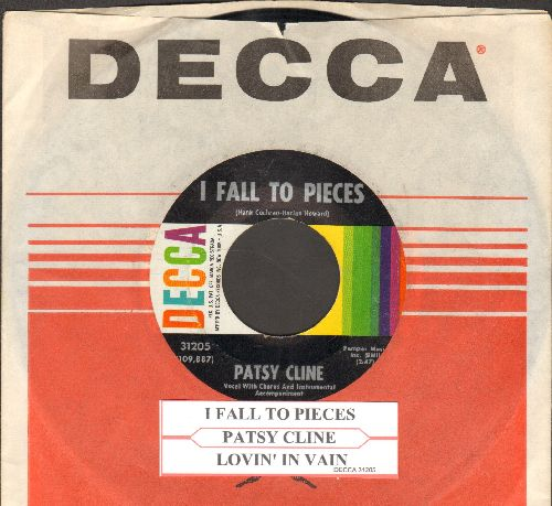Cline, Patsy - I Fall To Pieces/Lovin' In Vain (NICE condition with vintage Decca company sleeve and juke box label) - NM9/ - 45 rpm Records