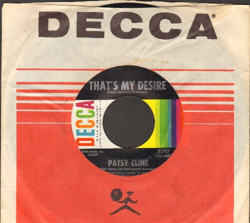 Cline, Patsy - That's My Desire/Foolin' 'Round (with Decca company sleeve and juke box label) (minor wol) - NM9/ - 45 rpm Records