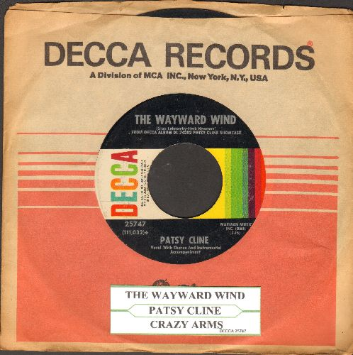 Cline, Patsy - The Wayward Wind/Crazy Arms (with juke box label and Decca company sleeve) - VG7/ - 45 rpm Records