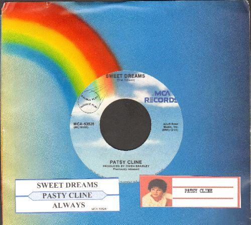 Cline, Patsy - Sweet Dreams/Always (double-hit re-issue with juke box label and MCA company sleeve) - NM9/ - 45 rpm Records