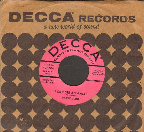 Cline, Patsy - I Can See An Angel/Never No More (DJ advance pressing with vintage Decca company sleeve) - VG7/ - 45 rpm Records