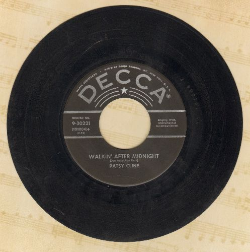 Cline, Patsy - Walkin' After Midnight/A Poor Man's Roses (black label first issue with Decca company sleeve) - VG7/ - 45 rpm Records