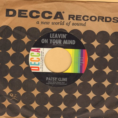 Cline, Patsy - Leavin' On Your Mind/Tra Le La Le La Triangle (with vintage Decca company sleeve) - EX8/ - 45 rpm Records