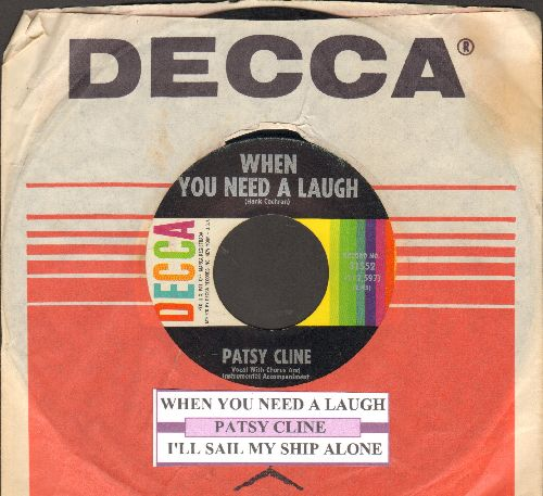 Cline, Patsy - When You Need A Laugh/I'll Sail My Ship Alone (with juke box label and company sleeve) - VG7/ - 45 rpm Records
