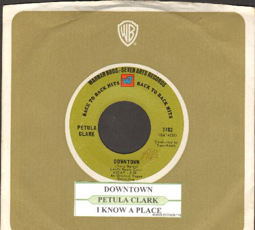 Clark, Petula - Downtown/I Know A Place (early double-hit re-issue with juke box label and Warner Brothers company sleeve) - EX8/ - 45 rpm Records