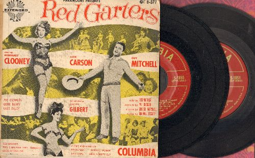 Clooney, Rosemary, Guy Mitchell, Joanne Gilbert - Red Garters - Original Motion Picture Sound Track, 8 songs on 2 vinyl EP records in gate-fold cover. 1954 Original pressing. - EX8/VG7 - 45 rpm Records