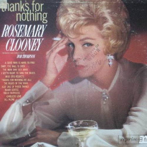 Clooney, Rosemary - Thanks For Nothing: Black Coffee, Miss Otis Regrets, The Man That Got Away, Just One Of Those Things (Vinyl MONO LP record, DJ advance copy, woc) - NM9/VG6 - LP Records