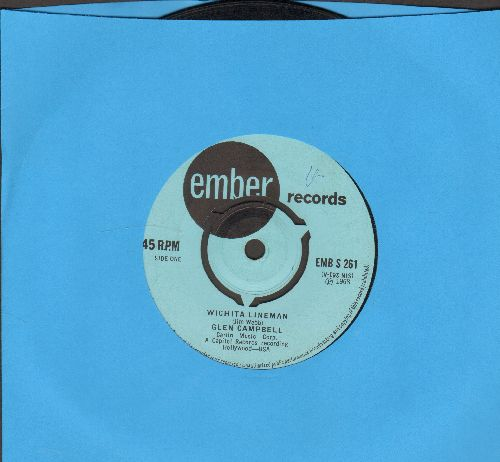 Campbell, Glen - Wichita Lineman/Back In The Race (British Pressing with removable spindle adapter, small spindle hole) - EX8/ - 45 rpm Records