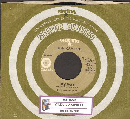 Campbell, Glen - My Way/Mac Arthur Park (double-hit re-issue with Capitol company sleeve) - NM9/ - 45 rpm Records