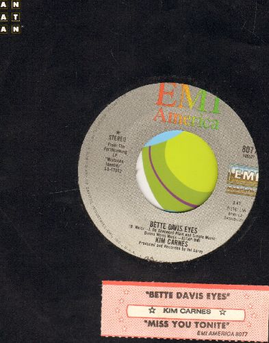 Carnes, Kim - Bette Davis Eyes/Miss You Tonight (with juke box label and company sleeve) - EX8/ - 45 rpm Records