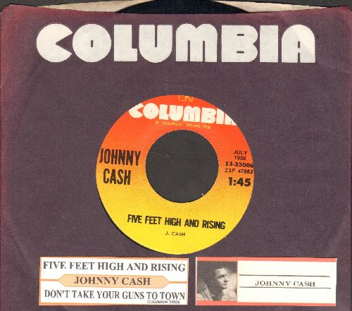 Cash, Johnny - Five Feet High And Rising/Don't Take Your Guns To Town (re-issue with juke box label and Columbia company sleeve) - NM9/ - 45 rpm Records