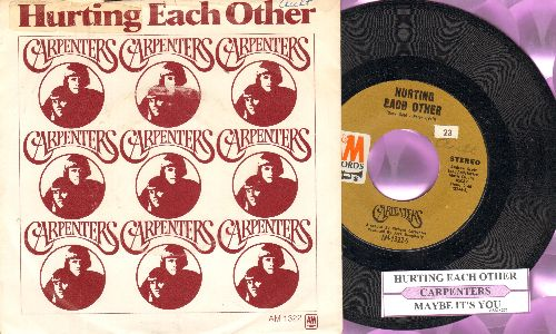 Carpenters - Hurting Each Other/Maybe It's You (with picture sleeve and juke box label) - NM9/EX8 - 45 rpm Records