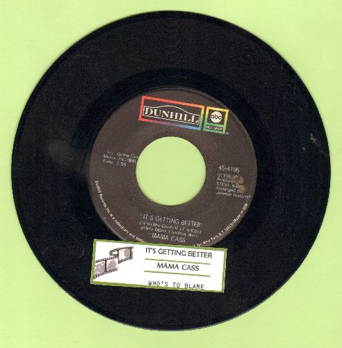 Mama Cass - It's Getting Better (as featured in the opening of film A Beautiful Thing)Who's To Blame (with juke box label) - NM9/ - 45 rpm Records