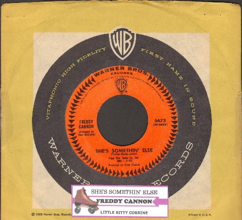 Cannon, Freddy - She's Somethin' Else/Little Bitty Corrine (FANTASTIC Vintage 60s 2-sider with juke box label and Warner Brothers company sleeve) - EX8/ - 45 rpm Records