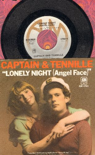 Captain & Tennille - Lonely Night (Angel Face)/Smile For Me One More Time (with picture sleeve) - NM9/NM9 - 45 rpm Records
