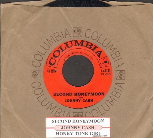 Cash, Johnny - Second Honeymoon/Honky-Tonk Girl (with Columbia company sleeve and juke box label) - EX8/ - 45 rpm Records