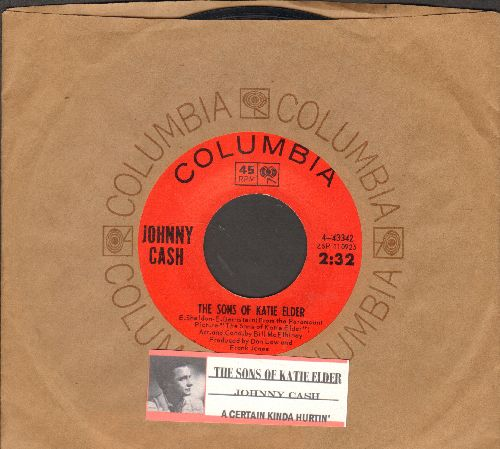 Cash, Johnny - The Sons Of Katie Elder/A Certain Kinda Hurtin' (with juke box label and Columbia company sleeve) - NM9/ - 45 rpm Records