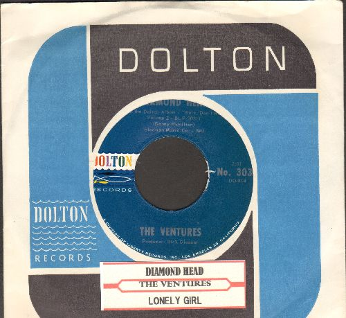 Ventures - Diamond Head/Lonely Girl (MINT condition with juke box label and vintage Dolton company sleeve) - M10/ - 45 rpm Records
