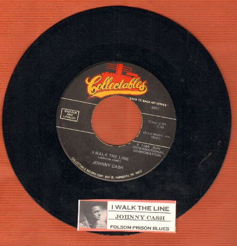 Cash, Johnny - I Walk The Line/Folsom Prison Blues (re-issue with juke box label) - EX8/ - 45 rpm Records