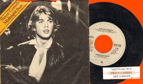 Cassidy, Shaun - Midnight Sun/She's Right (with juke box label and picture sleeve) - VG7/VG7 - 45 rpm Records