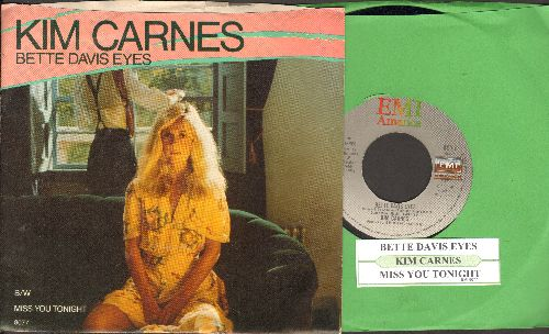 Carnes, Kim - Bette Davis Eyes/Miss You Tonight (with juke box label and picture sleeve) - NM9/EX8 - 45 rpm Records