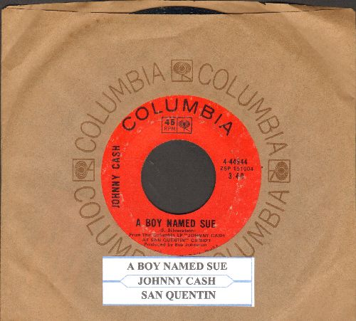 Cash, Johnny - A Boy Named Sue/San Quentin (with juke box label and Columbia company sleeve) - VG7/ - 45 rpm Records