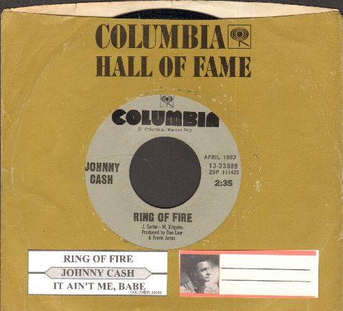 Cash, Johnny - Ring Of Fire/It Ain't Me, Babe (double-hit re-issue with juke box label and company sleeve) - NM9/ - 45 rpm Records