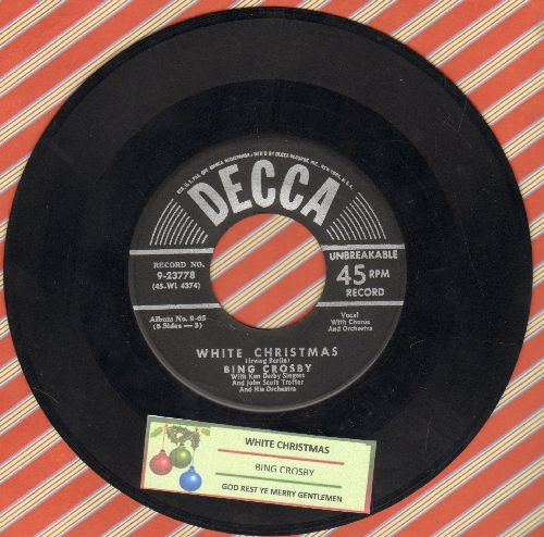 Crosby, Bing - White Christmas/God Rest Ye Merry Gentlemen (black label/silver lines early issue with  juke box label) - EX8/ - 45 rpm Records