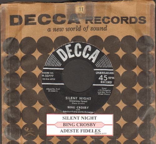 Crosby, Bing - Silent Night/Adeste Fideles (silver star/lines label with vintage Decca company sleeve) - NM9/ - 45 rpm Records