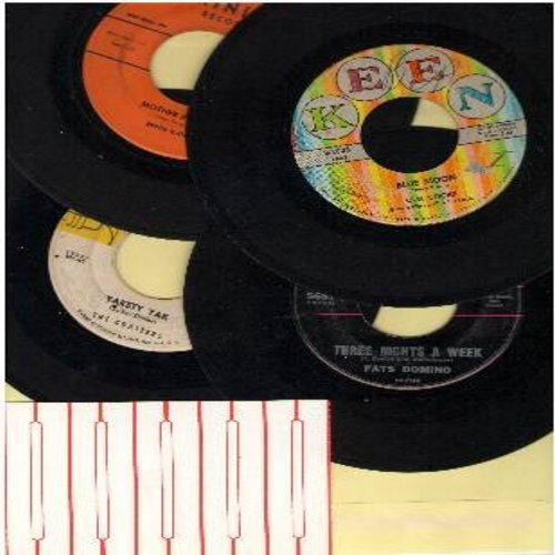 Coasters, Sam Cooke, Fats Domino, Ernie K-Doe - Vintage R&B 4-Pack: First issue 45s in very good or better condition. Hits include Yakety Yak, Blue Moon, Mother-In-Law, Three Nights A Week. Shipped in plain white paper sleeve with 5 blank juke box labels.