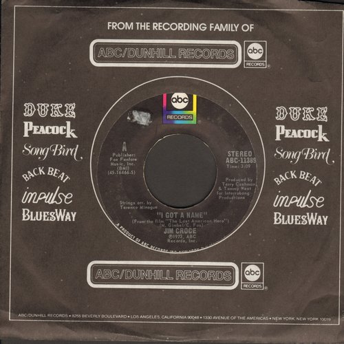 Croce, Jim - I Got A Name/Alabama Rain (with ABC company sleeve) - EX8/ - 45 rpm Records