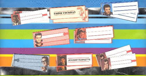 Juke Box Labels - 16 Juke Box Labels with pictures (2 each) of 8 popular Teen Idols of the 1950s & 1960s (exactly as pictured). GREAT for a juke box or to dress up your vintage vinyl collection! - /EX8 - Supplies
