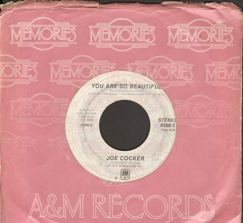 Cocker, Joe - You Are So Beautiful/High Time We Went (double-hit re-issue with A&M company sleeve) - EX8/ - 45 rpm Records