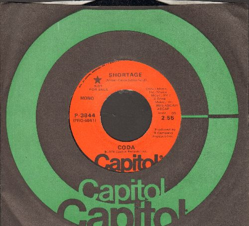 Coda - Shortage (double-A-sided DJ advance pressing with Capitol company sleeve) - M10/ - 45 rpm Records