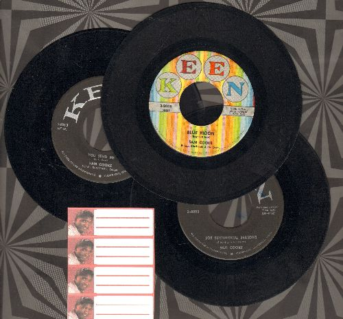 Cooke, Sam - 3 Pack of first issue 45s includes hits  Blue Moon/You Send Me/For Sentimental Reasons (shipped in plain white sleeves with 4 blank juke box labels) - VG7/ - 45 rpm Records