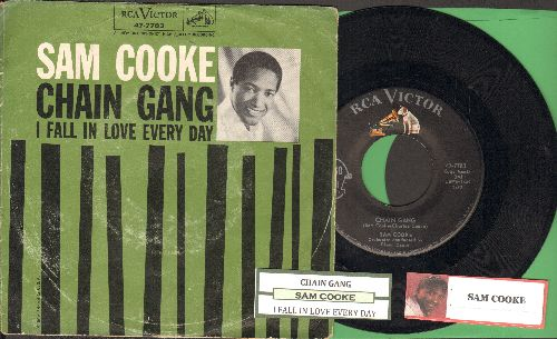 Cooke, Sam - Chain Gang/I Fall In Love Every Day (with juke box label and picture sleeve) - EX8/VG6 - 45 rpm Records