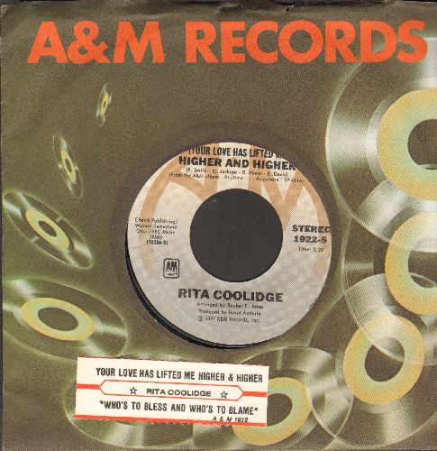 Coolidge, Rita - Higher And Higher/Who To Bless And Who's To Blame (with juke box label and A&M company sleeve) - EX8/ - 45 rpm Records