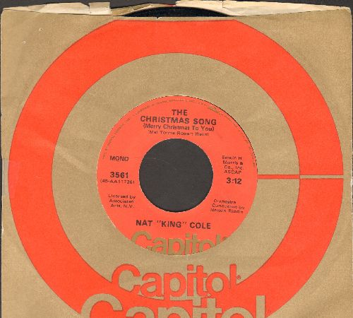 Cole, Nat King - The Christmas Song/The Little Boy That Santa Claus Forgot (1970s orange label, green logo with Capitol company sleeve) - VG7/ - 45 rpm Records