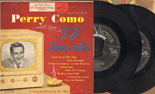 Como, Perry - TV Favorites: You'll Never Walk Alone/Summertime/Over The Rainbow/My Heart Stood Still +4 (2 vinyl EP records in gate-fold-picture cover) - EX8/EX8 - 45 rpm Records