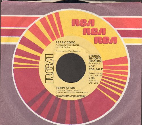 Como, Perry - Temptation (double-A-sided DJ advance pressing of late 1960s issue with RCA company sleeve) - EX8/ - 45 rpm Records