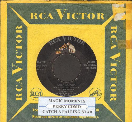 Como, Perry - Magic Moments/Catch A Falling Star (with vintage RCA company sleeve and juke box label) - VG7/ - 45 rpm Records